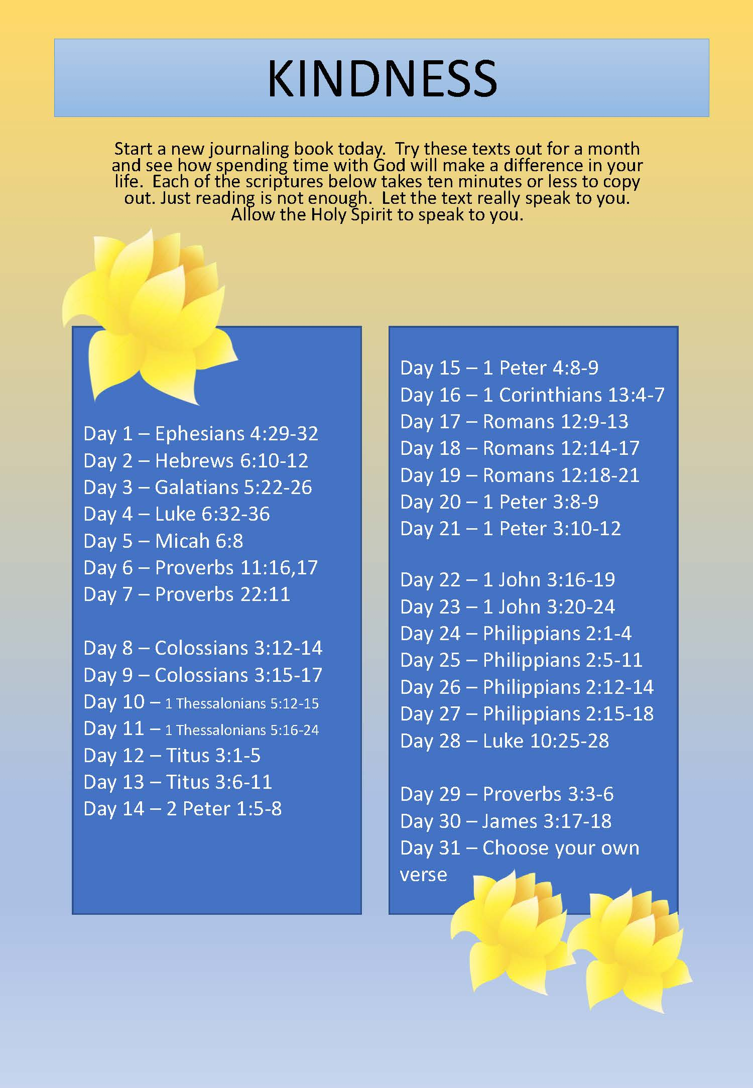 Scripture Writing plan KINDNESS