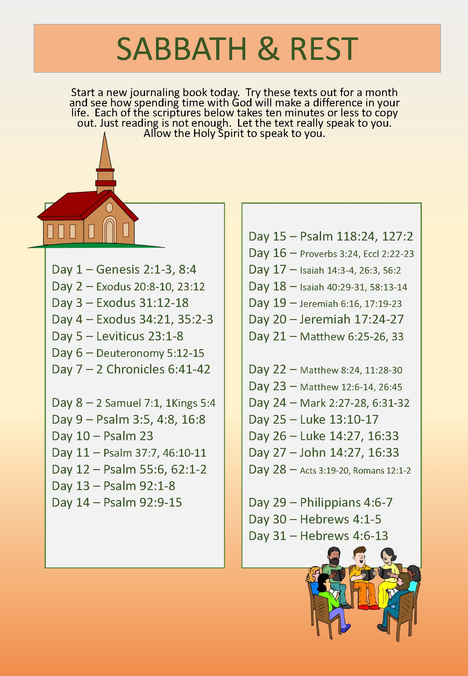 Scripture Writing plan SABBATH and REST