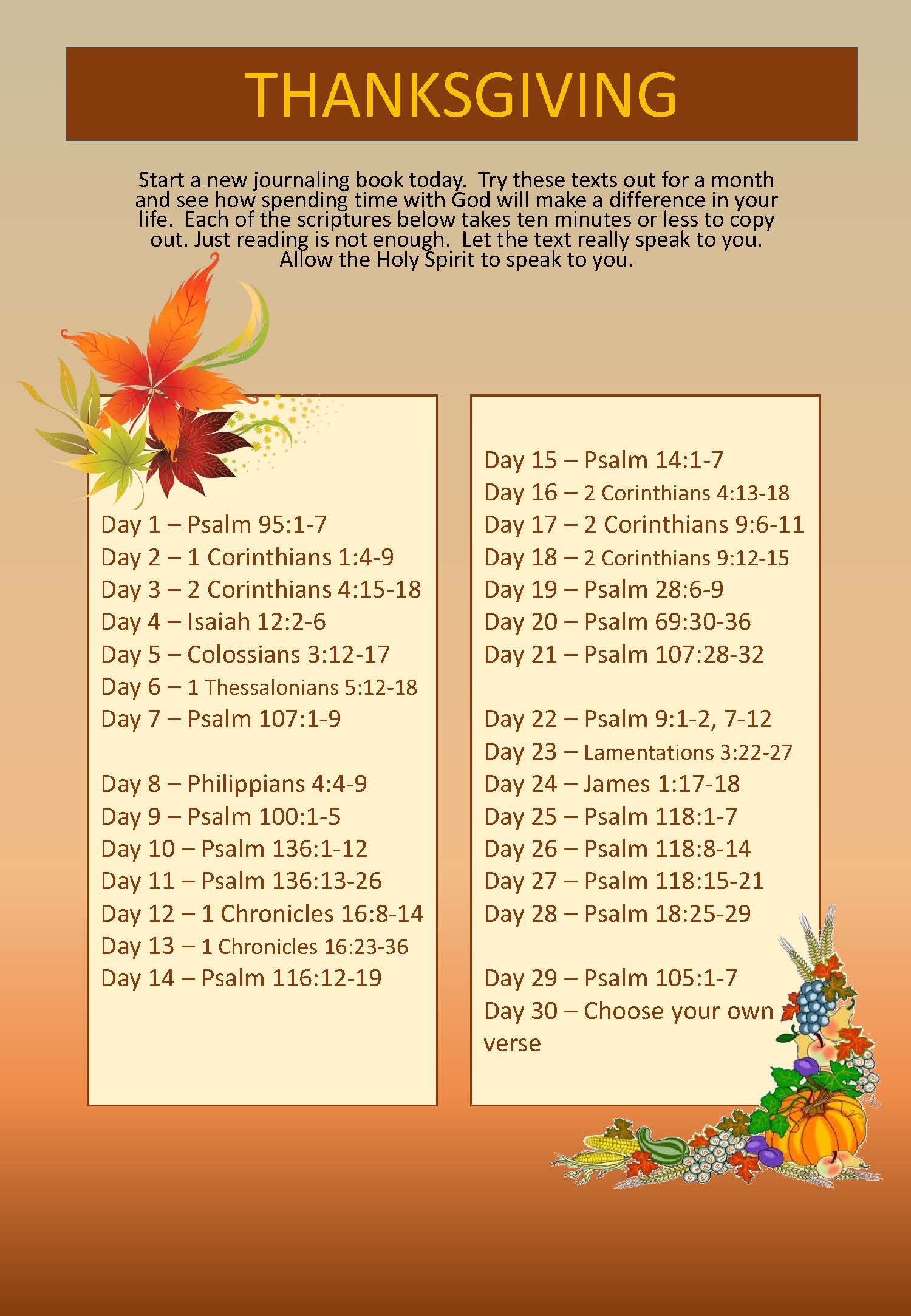 Scripture Writing plan THANKSGIVING