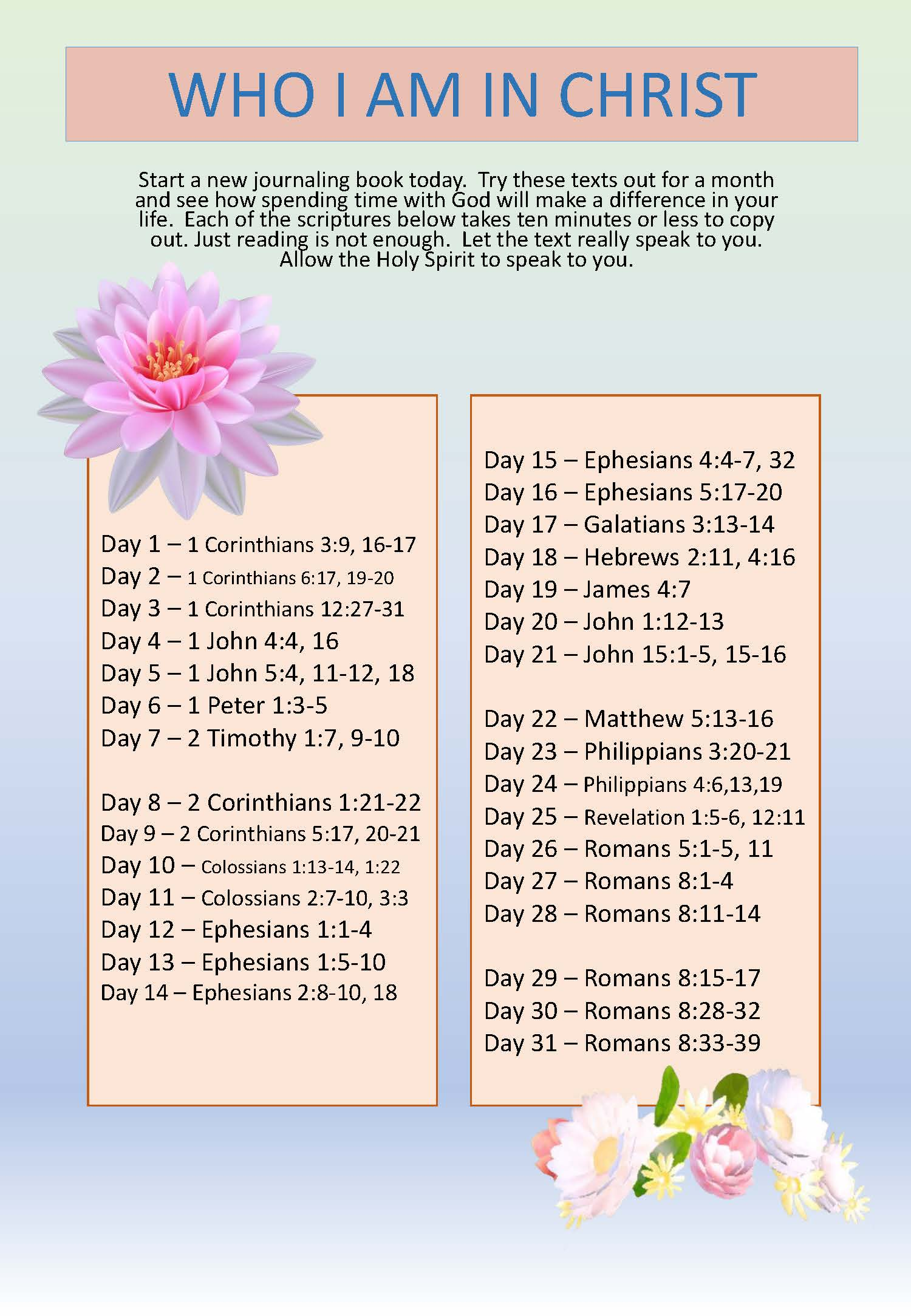 Scripture Writing plan WHO I AM IN CHRIST