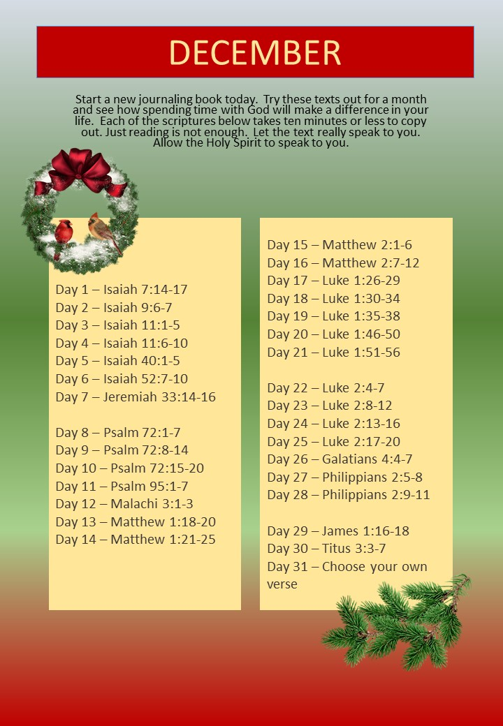 WM Monthly Bible Study 2018 12 December