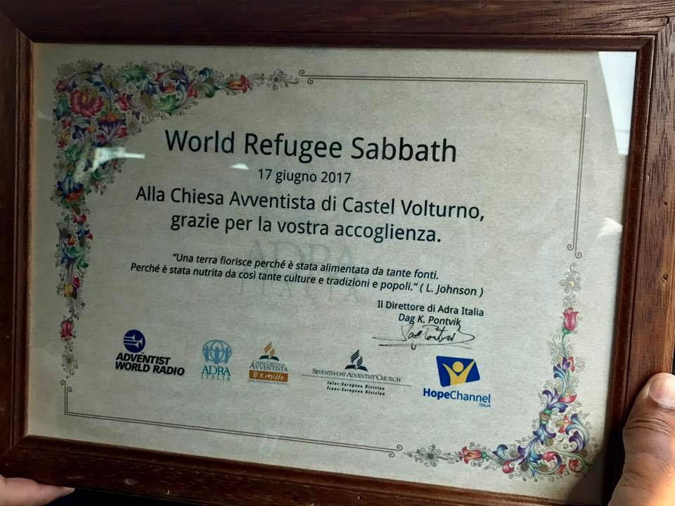 Thank you plaque from ADRA Italy 2 the local church