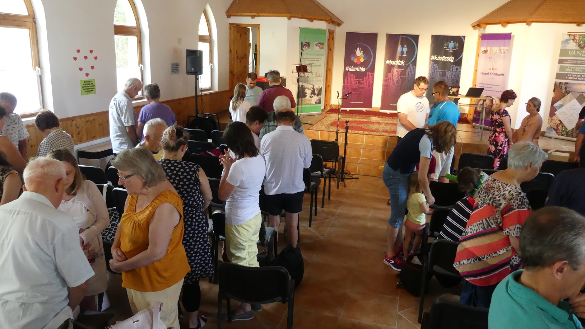 Time for prayer at Hungarian Mission camp
