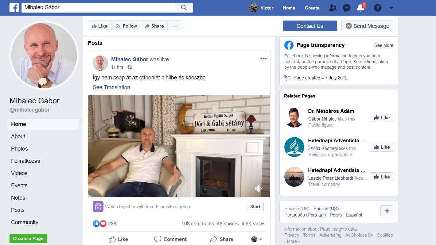 Gabor facebook page