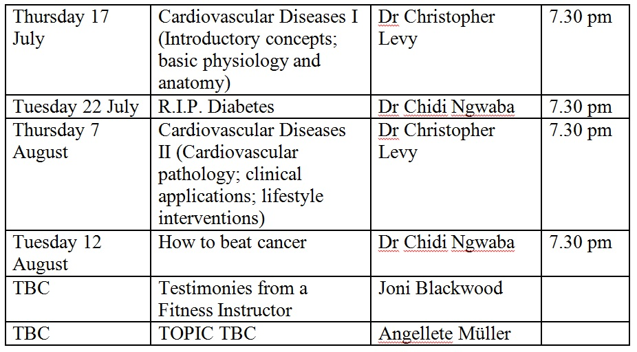 Free public Health and Wellness lectures